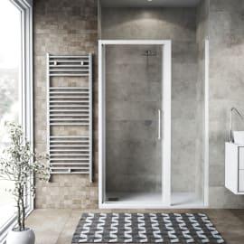 Doccia con porta battente lato fisso in linea Record 77 - 81 cm, H 195 cm vetro temperato 6 mm trasparente/bianco opaco