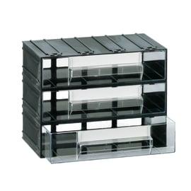 Cassettiera porta minuterie con 3 cassetti, colore nero/trasparente