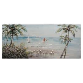 quadro dipinto a mano Spiaggia vista barche 65x150