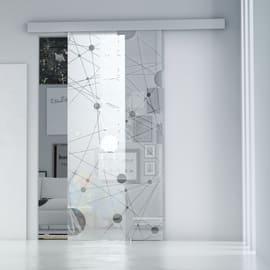 Porta da interno scorrevole Euclide/binario Alu 96 x H 215 cm reversibile