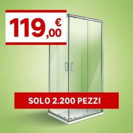 Box doccia scorrevole Zoe 69-99, H 190 cm vetro temperato 4 mm trasparente/cromo