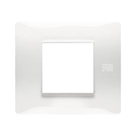 Placca 2 moduli Simon Urmet Nea Flexa bianco ghiaccio