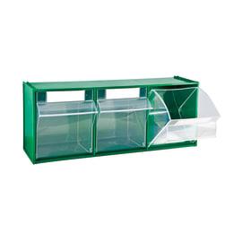 Cassettiera porta minuterie MAD5.VE basculanti con 3 cassetti, colore verde/trasparente