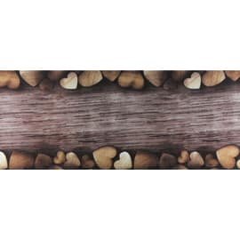 Tappetino cucina antiscivolo Full cuori marrone 55 x 75 cm