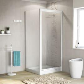 Doccia con porta battente e lato fisso Elba 68 - 72 x 78 - 82 cm, H 185 cm acrilico 2 mm stampato/bianco lucido