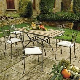 Set tavolo e sedie New Gijon con tavolo rettangolare nero