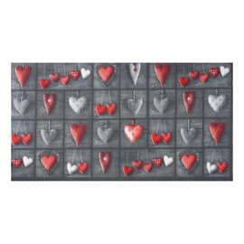 Tappetino cucina antiscivolo Full cuori patch grigio 55 x 75 cm