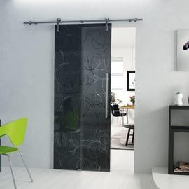 Porta da interno scorrevole Rose Fumè/binario Lux 76 x H 215 cm sx
