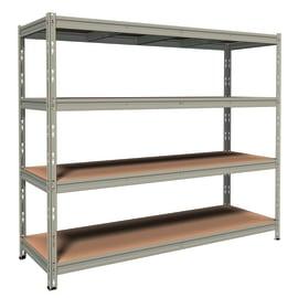 Scaffale metallo grigio 4 ripiani in legno L 210 x P 70 x H 180 cm