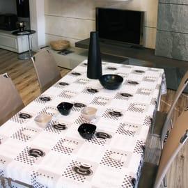 Tovaglia plastificata Cristallo caffè bianco e nero 220 x 140 cm