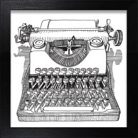 Stampa incorniciata Macchina da scrivere 30 x 30 cm