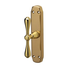 Maniglia per finestra martellina Novecento in ottone oro lucido