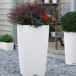 Vaso Cubico Cottage con set autoirrigazione Lechuza 30 x 30 cm bianco