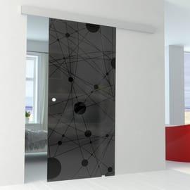 Porta da interno scorrevole Euclide Fumè/binario Alu 96 x H 215 cm reversibile