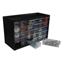 Organizer porta minuterie 30 cassetti, colore grigio/trasparente