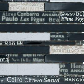 Mosaico City 33,5 x 29 cm nero, argento, oro
