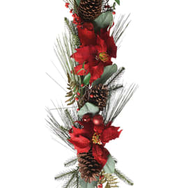 Festone aghi di pino e stella di Natale, 1,40 m