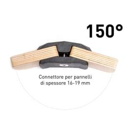 4 connettori Playwood 150° per pannelli in legno in plastica hi-tech nero