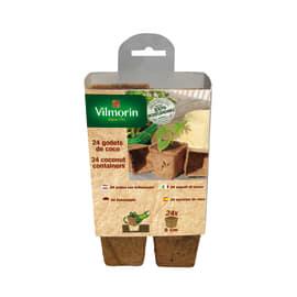 Vasetti per semina in cocco quadrati ø 8 cm 24 pezzi