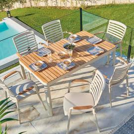 Set tavolo e sedie Portals con tavolo rettangolare crema