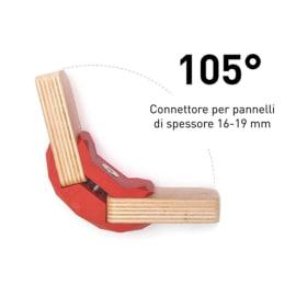 4 connettori Playwood 105° per pannelli in legno in plastica hi-tech rosso