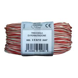 Cavo treccia permutazione telefonico Gervasoni Cavi 6 mm bianco/rosso, matassa 100 m