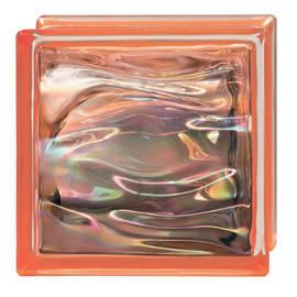 Vetromattone Agua Perla arancione ondulato effetto acqua perlato 19 x 19 x 8 cm