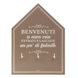 Bacheca porta chiavi Casa dolce casa 3 posti Fantasia 20 x 1 x 15 cm