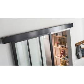 Binario scorrevole Atelier 196 cm nero in alluminio, per anta di larghezza massima 96 cm