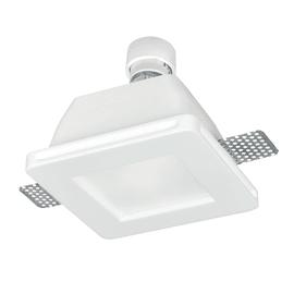 Faretto incasso gesso Snow-q bianco fisso quadrato 12 x 12 cm