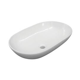 Lavabo da appoggio ovale Eolian L 60 x P 39,5 x H  20 cm bianco
