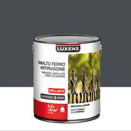 Smalto per ferro antiruggine Luxens grigio zinco brillante 2,5 L