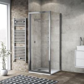 Doccia con porta battente e lato fisso Record 87 - 91 x 67 - 69 cm, H 195 cm vetro temperato 6 mm trasparente/silver lucido