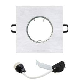 Faretto fisso da incasso quadrato Ispra in alluminio, argento, GU10 MAX50W IP20 INSPIRE 1 pezzi