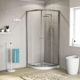 Box doccia stondato scorrevole Dado 80 x 80 cm, H 185 cm in alluminio e vetro, spessore 5 mm trasparente cromato