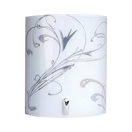 Applique Angela bianco, grigio e cromo, in vetro, 20x20 cm, E14 MAX40W IP20