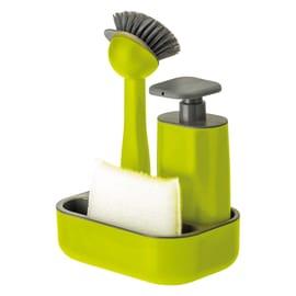 Dispenser sapone con supporto spugna verde L 18 x H 8.5 x P 18 cm