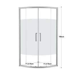 Box doccia scorrevole Quad 80 x 80 cm, H 190 cm in alluminio e vetro, spessore 6 mm vetro di sicurezza serigrafato argento