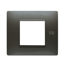 Placca SIMON URMET Nea Flexa 2 moduli acciaio scuro