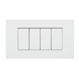 Placca FEB Flat 4 moduli bianco
