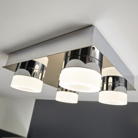 Plafoniera Icaria cromo, in alluminio, 26x26 cm, LED integrato 4W 1200LM IP44 INSPIRE