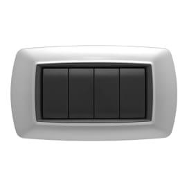 Placca FEB Flexì life 4 moduli alluminio chiaro