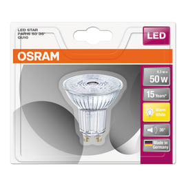 Lampadina LED GU10 riflettore bianco caldo 4W = 350LM (equiv 50W) 36° OSRAM