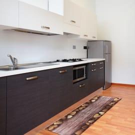 Tappeto Cucina antiscivolo Full cuori marrone 280x55 cm