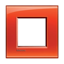 Placca BTICINO Living light 2 moduli arancio opaco