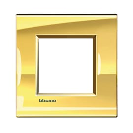 Placca BTICINO Living light 2 moduli oro opaco