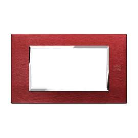 Placca SIMON URMET Nea Expì 4 moduli alluminio rosso