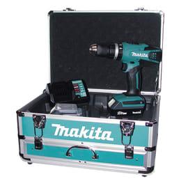 Trapano avvitatore a batteria con percussione MAKITA HP457DWEX4, 18 V, 1.3 Ah, 2 batterie