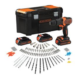 Trapano avvitatore a batteria con percussione BLACK+DECKER BDCHD181B3A, 18 V, 1.5 Ah, 3 batterie