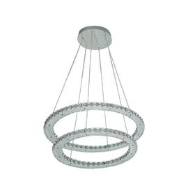 Lampadario Shoshone acciaio, trasparente, in cristallo, diam. 55 cm, LED integrato 20W 3840LM IP20 INSPIRE